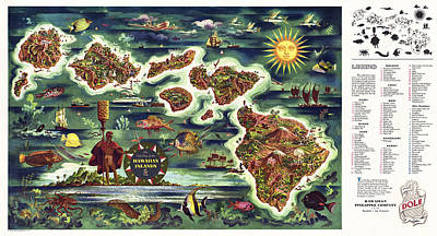 Hawaii Post W W II Tourist Promotion Map  1950 Poster
