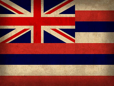 Hawaii State Flag Art On Worn Canvas Poster by Design Turnpike