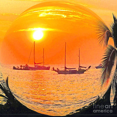 Hawaii Sunset In A Bubble Poster by Jerome Stumphauzer