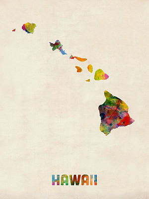 Hawaii Watercolor Map Poster by Michael Tompsett