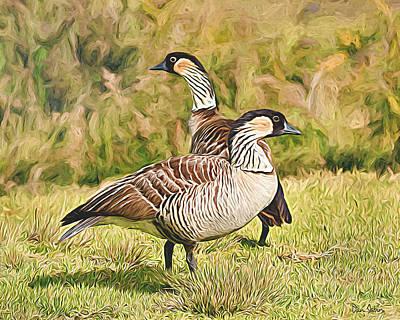 Hawaiian Goose Couple Poster