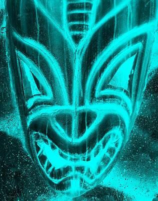 Hawaiian Mask Negative Aquamarine Poster