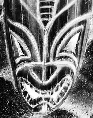 Hawaiian Mask Negative Black And White Poster