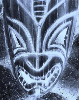 Hawaiian Mask Negative Cyan Poster