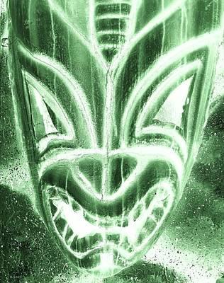 Hawaiian Mask Negative Olive Poster