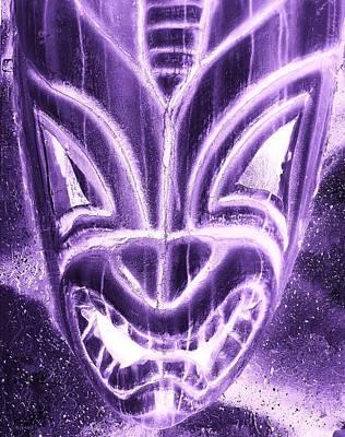 Hawaiian Mask Negative Purple Poster