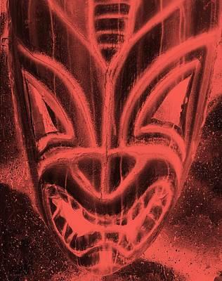 Hawaiian Mask Negative Salmon Poster