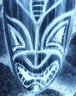 Hawaiian Mask Negative Turquoise Poster