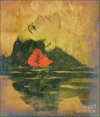 Hawaiian Reflection Wahine Kai Poster by Laura  Gundy