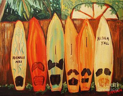 Hawaiian Surfboards Poster