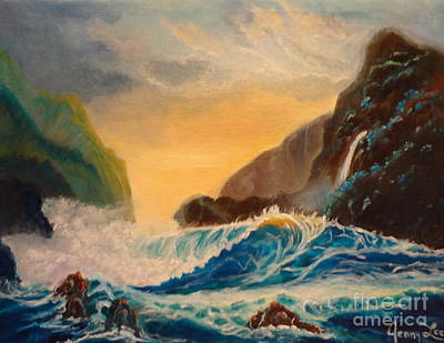 Poster featuring the painting Hawaiian Turquoise Sunset   Copyright by Jenny Lee