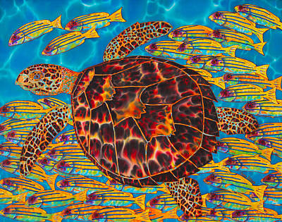 Hawksbill Sea  Turtle And  Snappers Poster
