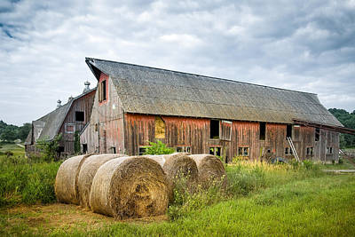 Hay Bales And Old Barns Poster by Gary Heller