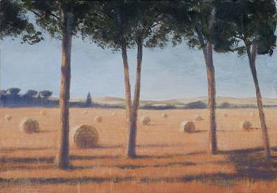 Hay Bales And Pines, Pienza, 2012 Acrylic On Canvas Poster by Lincoln Seligman