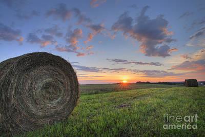 Hay Bales At Sunrise Poster