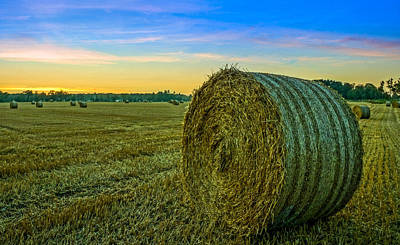 Poster featuring the photograph Hay Bales Before Dusk by Alex Weinstein