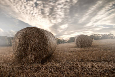 Hay Bales In The Mist Poster