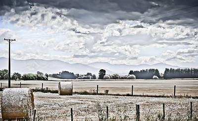 Haybales Fields Trees And Clouds Poster by Shivonne Ross