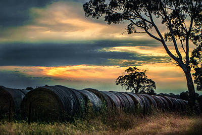Haybales Under The Setting Sun Poster by Katrina Dimond
