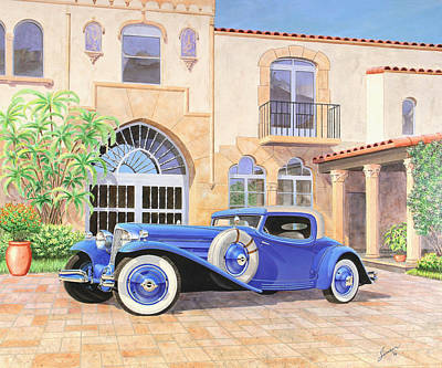 Automotive Fine Art  L-29 Cord Vintage Classicautomotive Art Sketch Rendering         Poster by John Samsen