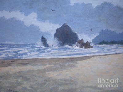 Poster featuring the painting Haystack Rock Drama by Suzanne McKay