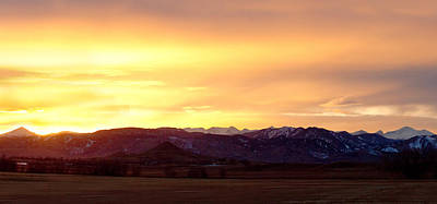 Haystack Rocky Mountain Front Range Sunset Panorama Poster