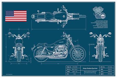 Harley Davidson Sportster Blueplanprint Poster