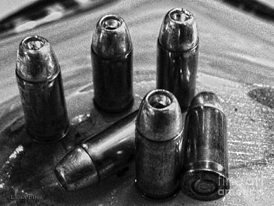 Bullet Art Hdr 32 Caliber Bullet Art 1 Bw Poster by Lesa Fine