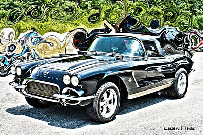 Chevrolet Corvette Vintage With Curly Background Poster by Lesa Fine