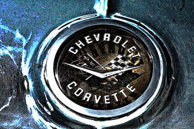 Poster featuring the photograph Hdr Vintage Corvette Emblem Art by Lesa Fine