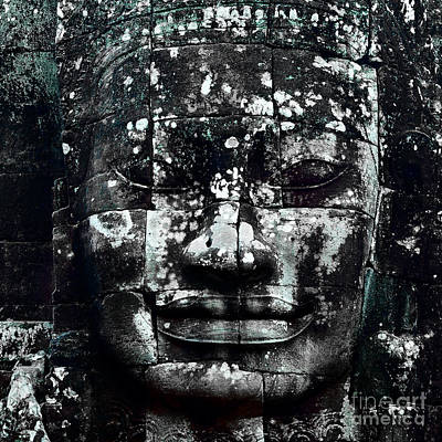 Head At Angkor Thom Poster by Julian Cook