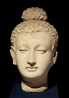 Head Of A Buddha, Greco-buddhist Style, From Hadda Stucco Poster by Afghan School