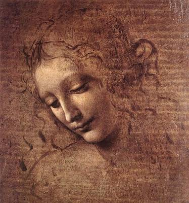 Head Of A Young Woman With Tousled Hair Poster by Leonardo da Vinci