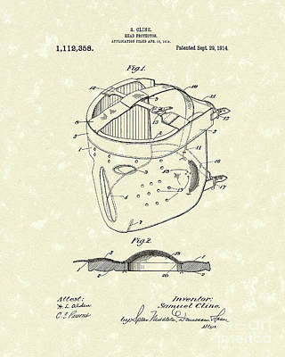Head Protector 1914 Patent Art Poster