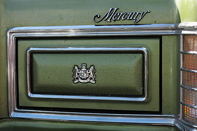 Headlight Cover And The Logo Of The 1975 Green Mercury Marquis Poster by Andrei Filippov