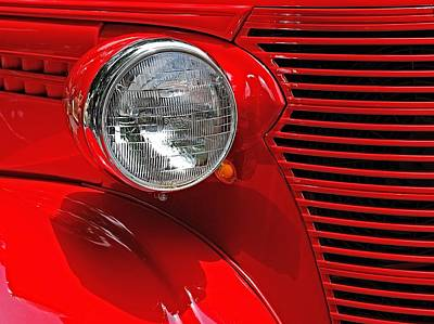 Headlight On Red Car Poster