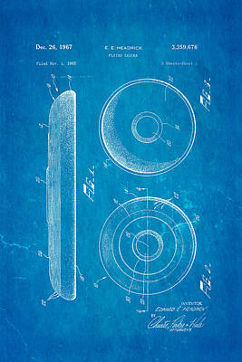 Headrick Frisbee Patent Art 1967 Blueprint Poster by Ian Monk