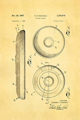 Headrick Frisbee Patent Art 1967 Poster by Ian Monk