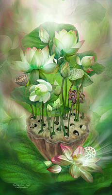 Healing Lotus - Heart Poster by Carol Cavalaris