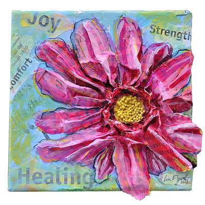 Poster featuring the painting Healing Pink Zinnia by Lisa Fiedler Jaworski