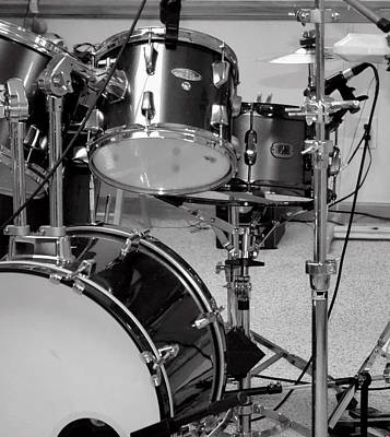 Hear The Music - A Drum Set Up For Recording Poster by Ron Grafe