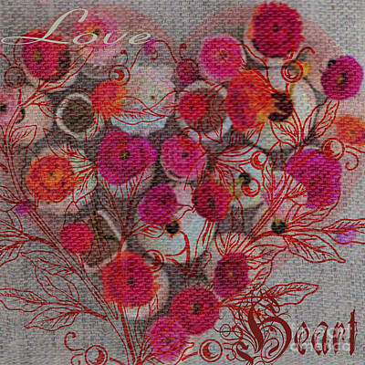 Heart And Love Flowers Artwork Poster by Art World