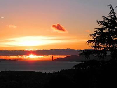 Heart Cloud Over Golden Gate Bridge Poster