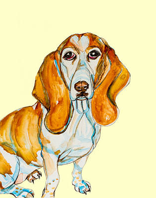 Heart Headed Basset Poster by Kelly     ZumBerge