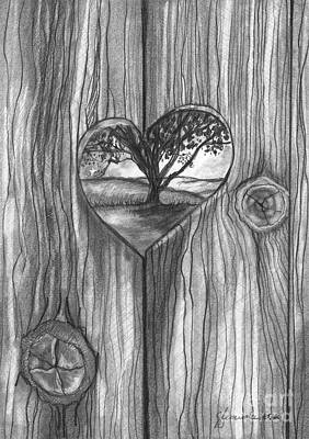 Poster featuring the drawing Heart In The Fence by J Ferwerda