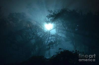 Heart Of Light On A Foggy Night Sky Poster by Carlos Alkmin