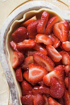 Heart-shaped Strawberry Pie, Unbaked (close-up) Poster