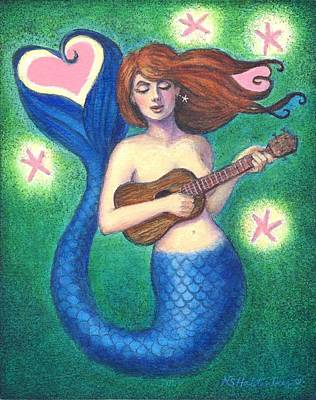 Poster featuring the painting Heart Tail Mermaid by Sue Halstenberg