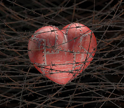 Heart With Barbed Wire Poster