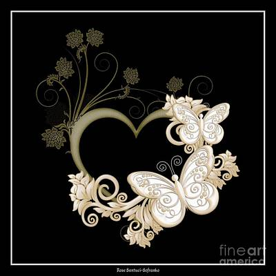 Heart With Butterflies And Flowers On Black Poster by Rose Santuci-Sofranko